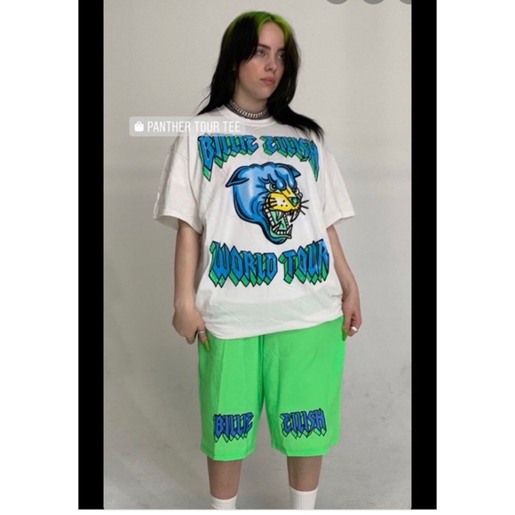 Billie Eilish Shorts Green La World Tour Large Poshmark